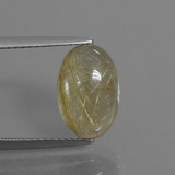 thumb image of 3.9ct Oval Cabochon Colorless Golden Rutile Quartz (ID: 446727)