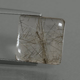 thumb image of 5.7ct Square Cabochon Colorless Golden Rutile Quartz (ID: 448765)