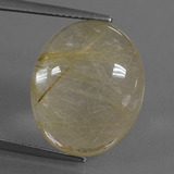 thumb image of 10.4ct Oval Cabochon Colorless Golden Rutile Quartz (ID: 448929)