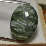 thumb image of 9.7ct Oval Cabochon Green Seraphinite (ID: 240152)