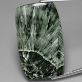 thumb image of 27.4ct Cushion Cabochon Green Seraphinite (ID: 391076)