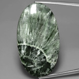 thumb image of 37.9ct Oval Cabochon Green Seraphinite (ID: 391077)