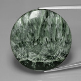 thumb image of 36.1ct Round Cabochon Green Seraphinite (ID: 391122)