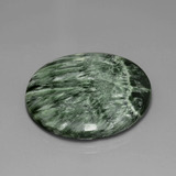 36.08 ct Round Cabochon Medium Green Seraphinite Gem 30.19 mm  (Photo B)