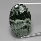thumb image of 27.3ct Oval Cabochon Green Seraphinite (ID: 391123)