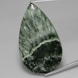 thumb image of 31.1ct Pear Cabochon Green Seraphinite (ID: 391124)