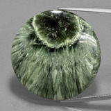 thumb image of 35.8ct Round Cabochon Green Seraphinite (ID: 401198)