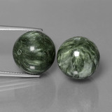 thumb image of 38.7ct Drilled Sphere Green Seraphinite (ID: 447349)