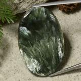 thumb image of 33.4ct Ovale cabochon Army Green Serafinite (ID: 485791)