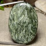 thumb image of 51.6ct Oval Cabochon Green Seraphinite (ID: 485865)