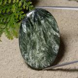 thumb image of 63.1ct Oval Cabochon Green Seraphinite (ID: 485924)