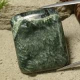 thumb image of 46.5ct Cushion Cabochon Dark Green Seraphinite (ID: 485982)