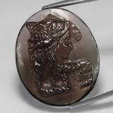 thumb image of 31.7ct Carved Cameo Smoky Brown Smoky Quartz (ID: 311306)