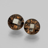 thumb image of 3.5ct Round Checkerboard Brown Smoky Quartz (ID: 398679)