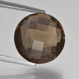 thumb image of 5.2ct Round Checkerboard (double sided) Brown Smoky Quartz (ID: 416678)