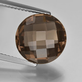 thumb image of 4.9ct Round Checkerboard (double sided) Brown Smoky Quartz (ID: 416680)