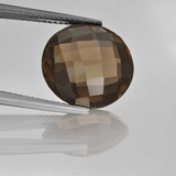 thumb image of 8.4ct Round Checkerboard (double sided) Brown Smoky Quartz (ID: 416688)