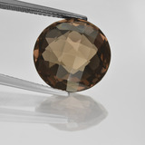 thumb image of 8.4ct Round Checkerboard (double sided) Brown Smoky Quartz (ID: 416693)