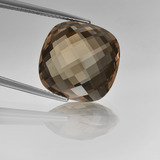 thumb image of 13.7ct Cushion Checkerboard (double sided) Brown Smoky Quartz (ID: 416799)