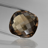 thumb image of 13.7ct Cushion Checkerboard (double sided) Brown Smoky Quartz (ID: 416876)