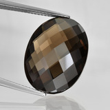thumb image of 15.6ct Oval Checkerboard (double sided) Brown Smoky Quartz (ID: 416878)