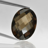 thumb image of 15.4ct Oval Checkerboard (double sided) Brown Smoky Quartz (ID: 416881)