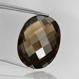 thumb image of 15.8ct Oval Checkerboard (double sided) Brown Smoky Quartz (ID: 416885)