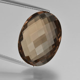 thumb image of 13.2ct Oval Checkerboard (double sided) Brown Smoky Quartz (ID: 416938)