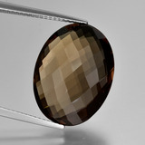 thumb image of 12.9ct Oval Checkerboard (double sided) Brown Smoky Quartz (ID: 416950)