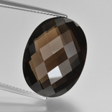 thumb image of 16.1ct Oval Checkerboard (double sided) Brown Smoky Quartz (ID: 416952)