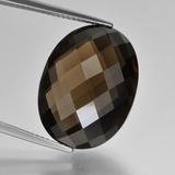 thumb image of 15.5ct Oval Checkerboard (double sided) Brown Smoky Quartz (ID: 416955)