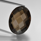 thumb image of 16.3ct Oval Checkerboard (double sided) Brown Smoky Quartz (ID: 416956)