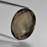 thumb image of 12.4ct Oval Checkerboard (double sided) Brown Smoky Quartz (ID: 416958)