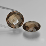 thumb image of 15.8ct Round Checkerboard (double sided) Brown Smoky Quartz (ID: 417051)
