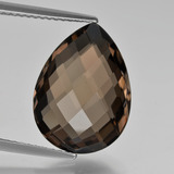 thumb image of 7.9ct Pear Double-Sided Checkerboard Brown Smoky Quartz (ID: 417148)