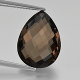 thumb image of 7.5ct Pear Double-Sided Checkerboard Brown Smoky Quartz (ID: 417150)
