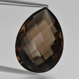 thumb image of 9.9ct Pear Double-Sided Checkerboard Brown Smoky Quartz (ID: 417151)