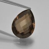 thumb image of 7.8ct Pear Double-Sided Checkerboard Brown Smoky Quartz (ID: 417153)