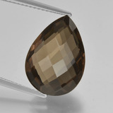 thumb image of 7.7ct Pear Double-Sided Checkerboard Brown Smoky Quartz (ID: 417159)