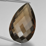 thumb image of 53.4ct Pear Double-Sided Checkerboard Brown Smoky Quartz (ID: 417164)