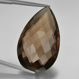 thumb image of 50.1ct Pear Double-Sided Checkerboard Brown Smoky Quartz (ID: 417165)