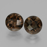 thumb image of 3.8ct Round Checkerboard Brown Smoky Quartz (ID: 428571)