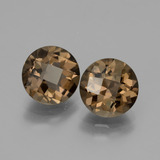 thumb image of 3.5ct Round Checkerboard Brown Smoky Quartz (ID: 428704)