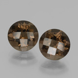 thumb image of 3.7ct Round Checkerboard Brown Smoky Quartz (ID: 436889)