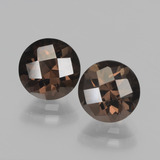thumb image of 1.8ct Round Checkerboard Hickory Brown Smoky Quartz (ID: 437322)