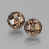 thumb image of 3.2ct Round Checkerboard Brown Smoky Quartz (ID: 439954)