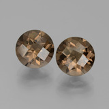 thumb image of 3.6ct Round Checkerboard Brown Smoky Quartz (ID: 442953)