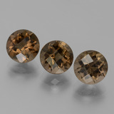 thumb image of 6ct Round Checkerboard Brown Smoky Quartz (ID: 443188)