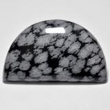 thumb image of 32.2ct Half Moon Cabochon Multicolor Snowflake Obsidian (ID: 485645)