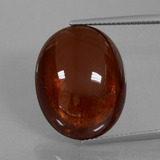 thumb image of 35.3ct Oval Cabochon Red Orange Spessartite Garnet (ID: 424304)